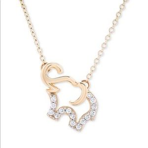 Diamond Elephant Pendant Necklace in 10k Gold